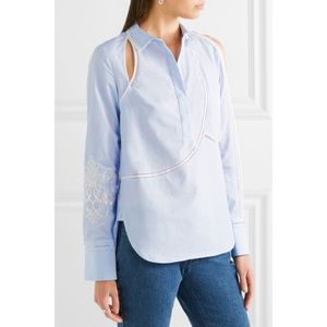 3.1 Phillip Lim Embroidered Cut Out Poplin Shirt